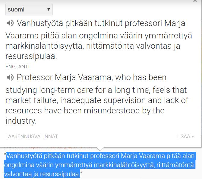 Otin tietokoneen leikkaustyökalulla tämän kuvan kääntäjän toiminnasta  pc-Chromessa. Itse juttu on ajankohtaisista ajankohtaisin ja teema kertoo  suomalaisen ... 3b0af326b