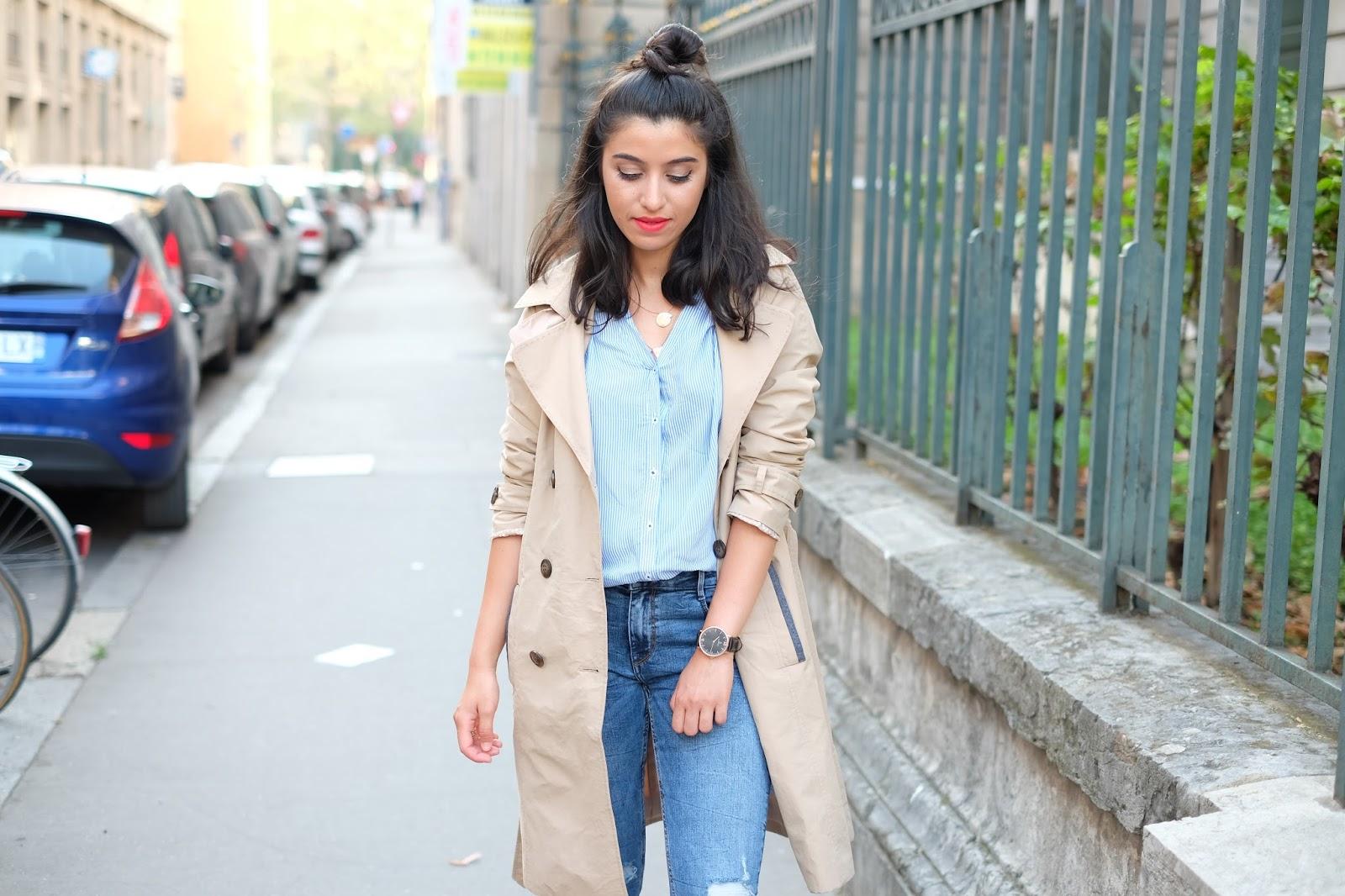 blog mode, blog mode lyon, grain de malice, look de rentrée, automne, rentrée, trench, trench beige, trench imperméable, blogueuse mode, blogueuse lyonnaise, blog mode paris