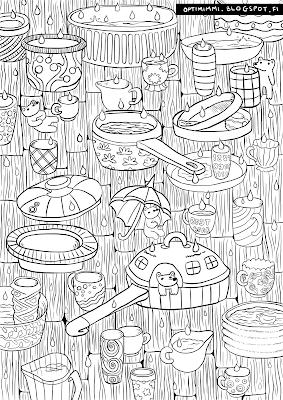 A coloring page of cups, pans, little creatures and a hole in the ceiling / Värityskuva kupeista, pannuista, pikku otuksista ja reiästä katossa
