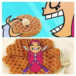 StartFire de Jovenes titanes comiendo waffles