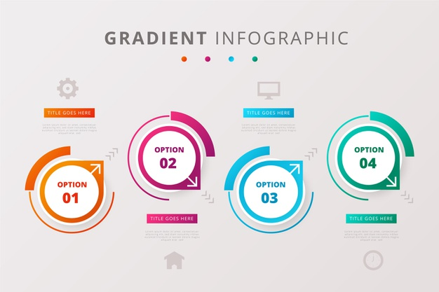 Set of infographics in gradient style Free Vector
