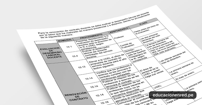 MINEDU: Cronograma y plazos para la Renovación de Contrato Docente 2021 (D. S. N° 015-2020-MINEDU)