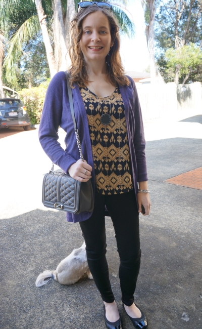Away From Blue | SAHM outfit: purple cardi, Aztec print tank, black skinny jeans, RM Love