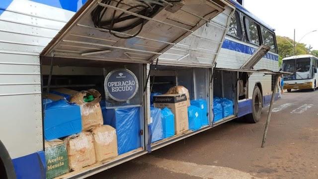 Santa Teresinha de Itaipu: Ônibus com cerca de R$ 500 mil em mercadorias contrabandeadas são apreendidos na BR-277