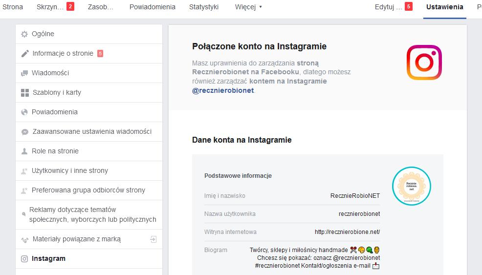 połączyć facebook z instagramem