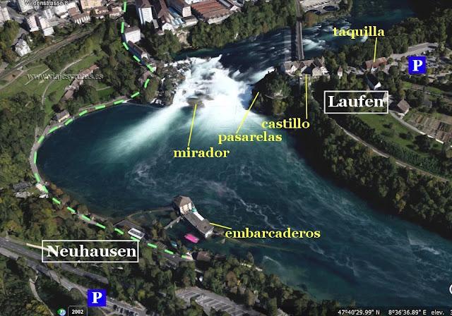 Mapa cataratas del Rin