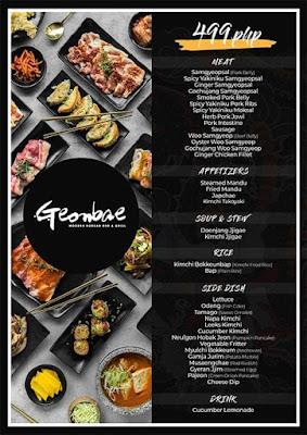 menu, Geonbae Modern Korean Bar & Grill, Unlimited Samgyupsal, Sashimi and More