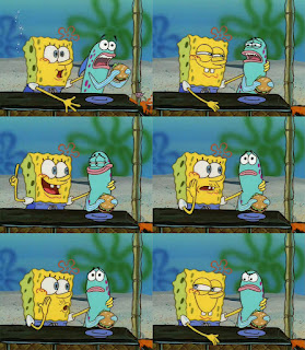 Polosan meme spongebob dan patrick 154 - spongebob menawarkan krabby patty ke ikan biru - hehehe