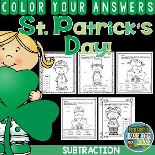 MORE St. Patrick's Day Color By Number Subtraction