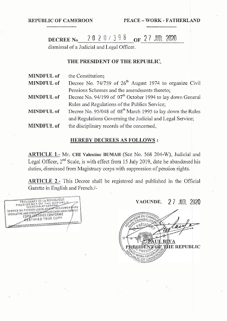 President of Cameroon Dismisses Chi Valentine of the Magistracy Corps.