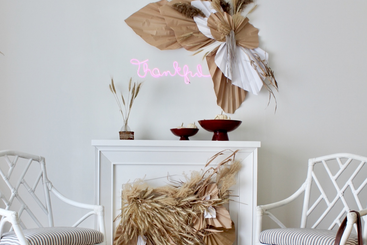 Thanksgiving Decor Neon Sign Palm Leaf
