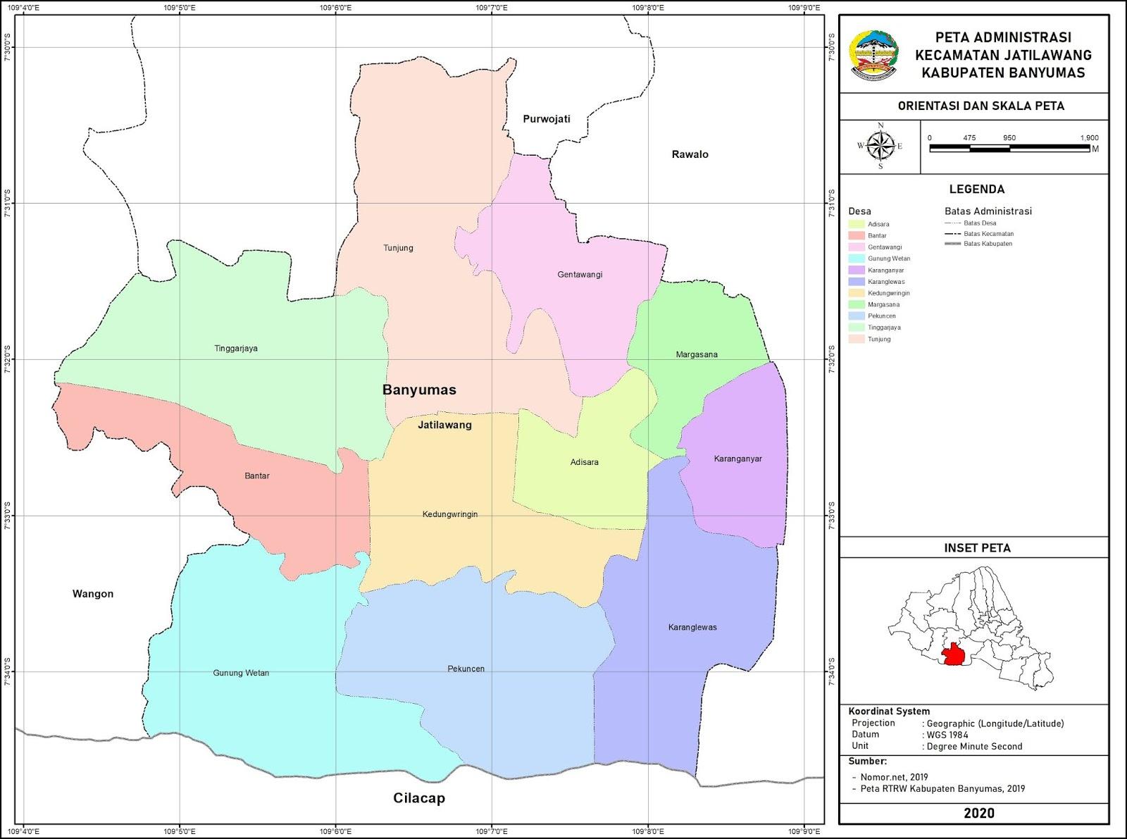 Peta Administrasi Kecamatan Jatilawang, Kabupaten Banyumas ...