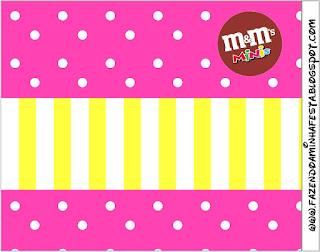 Etiqueta M&M de Rosado y Amarillo  para imprimir gratis.