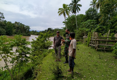 Antisipasi Banjir, Babinsa Koramil 03/Kaway XVl Cek Debit Air Sungai Krung Meureubo