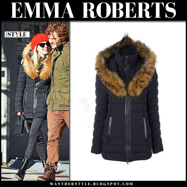 Emma Roberts in black padded fur trim jacket mackage what she wore