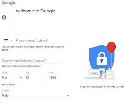 Daftar gmail tanpa nomor hp di pc