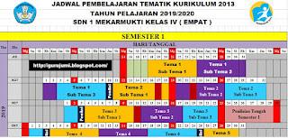 File Pendidikan Download Jadwal Pelajaran Kelas 4 Semester 1 dan 2 SD/MI Kurukulum 2013 Sudah Jadi