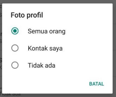 Foto profil supaya tidak bisa dilihat kontak tertentu