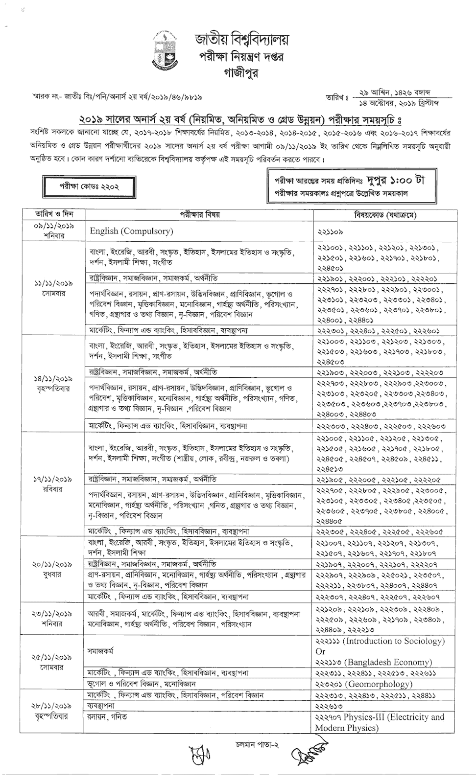 Honours 2nd year routine 2019 part1