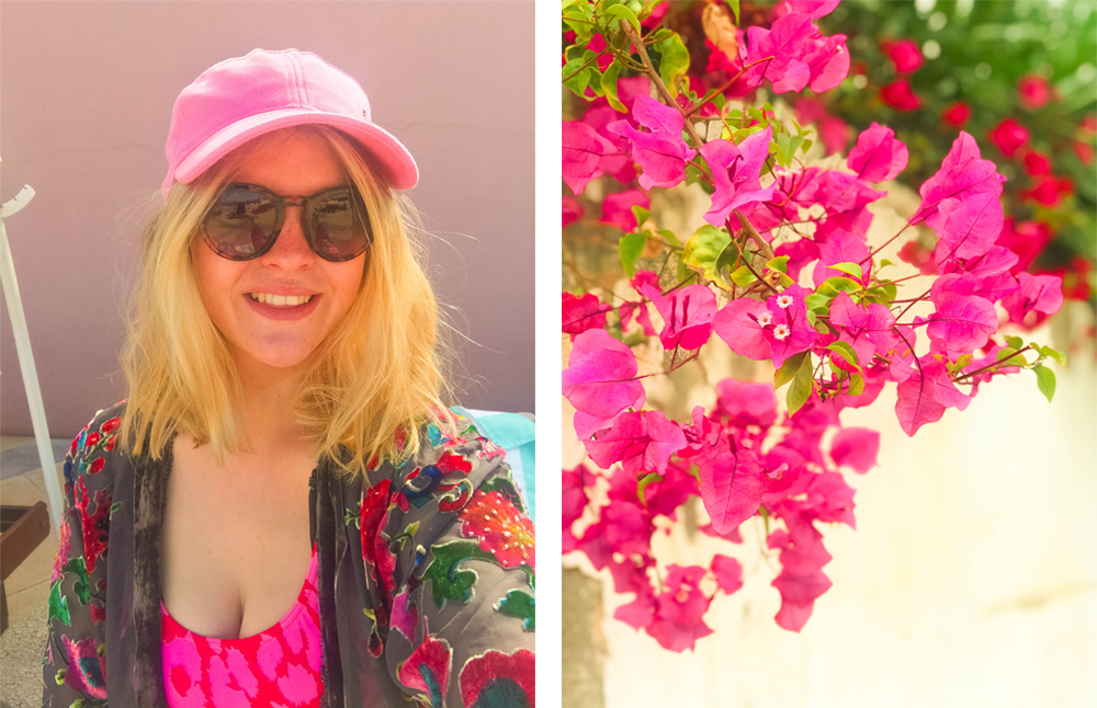 collage-of-blonde-girl-selfie-in-pink-cap-and-pink-flowers