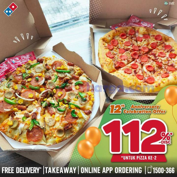 Dominos Pizza Promo 12th Anniversary Diskon 112% untuk Pizza ke-2*