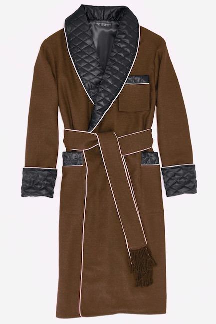 mens luxury vintage wool dressing gown smoking jacket robe quilted silk