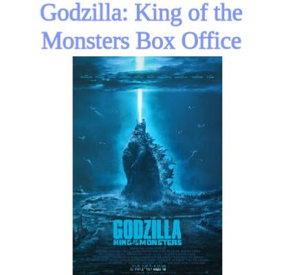 Godzilla: King of the Monsters Box Office Collection Day wise box office collection and total box office collection worldwide.