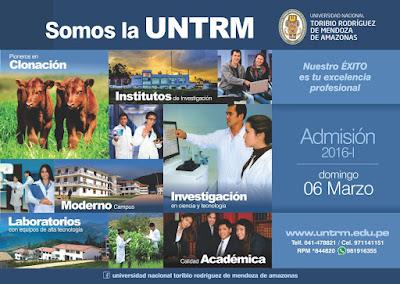 Resultados examen de  ADMISION UNTRM 2016-I Ordinario 2 de marzo - Extraordinario 6 de Marzo