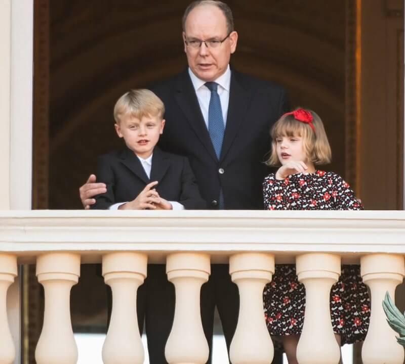 Princess Gabriella wore a multi floral evita dress from Jacadi. Prince Albert II, Hereditary Prince Jacques and Princess Gabriella