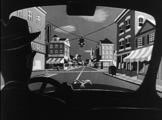 """Cartoon-Moderne"" scenic designs from 1950's commercials by the Paul Fennell Studio"