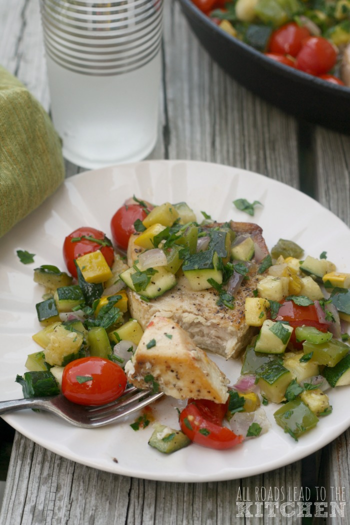One-Pan Swordfish w/ Ratatouille