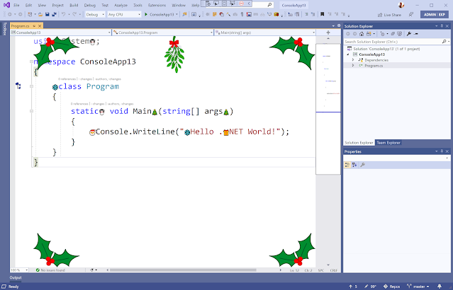 Visual Studio editor showing all the adornments created in this article