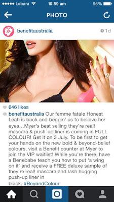 Benefit Australia Instagram