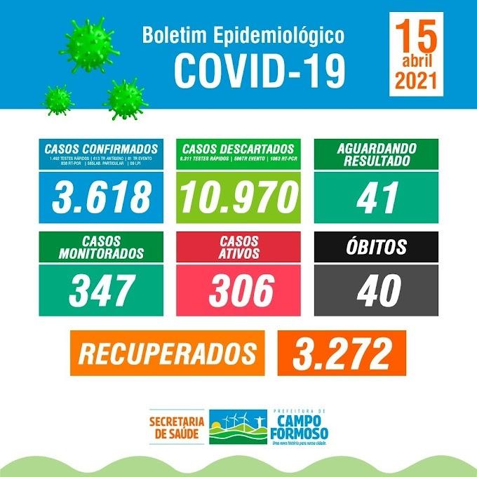 No boletim de hoje, 15/04, contabilizamos 09 novos casos da Covid-19 confirmados no município de Campo Formoso