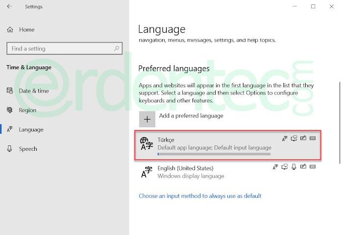 Change Language on Windows 10