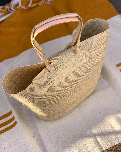 Handmade palm frond basket tote
