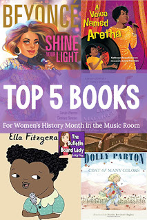 Women's History Month books for the music classroom.  Musicians, music teachers and music students will love these stories of great female musicians.
