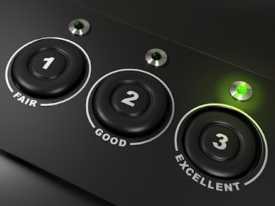 picture of 3 button choices: fair, good, and excellent