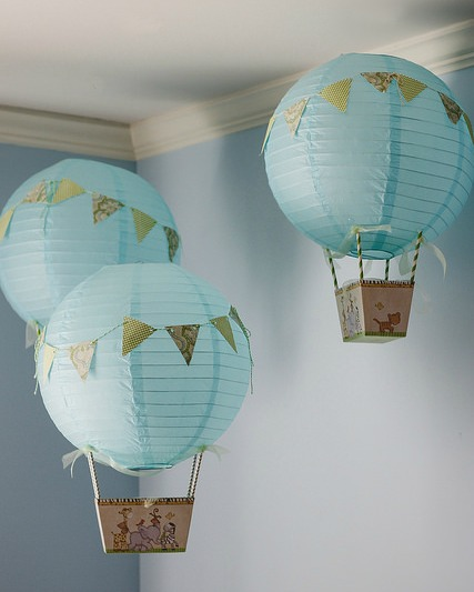 Paper Cut Out Blue Balloons First Birthday Decoration: A Little Loveliness: Make Hot-Air Balloons From Paper Lanterns