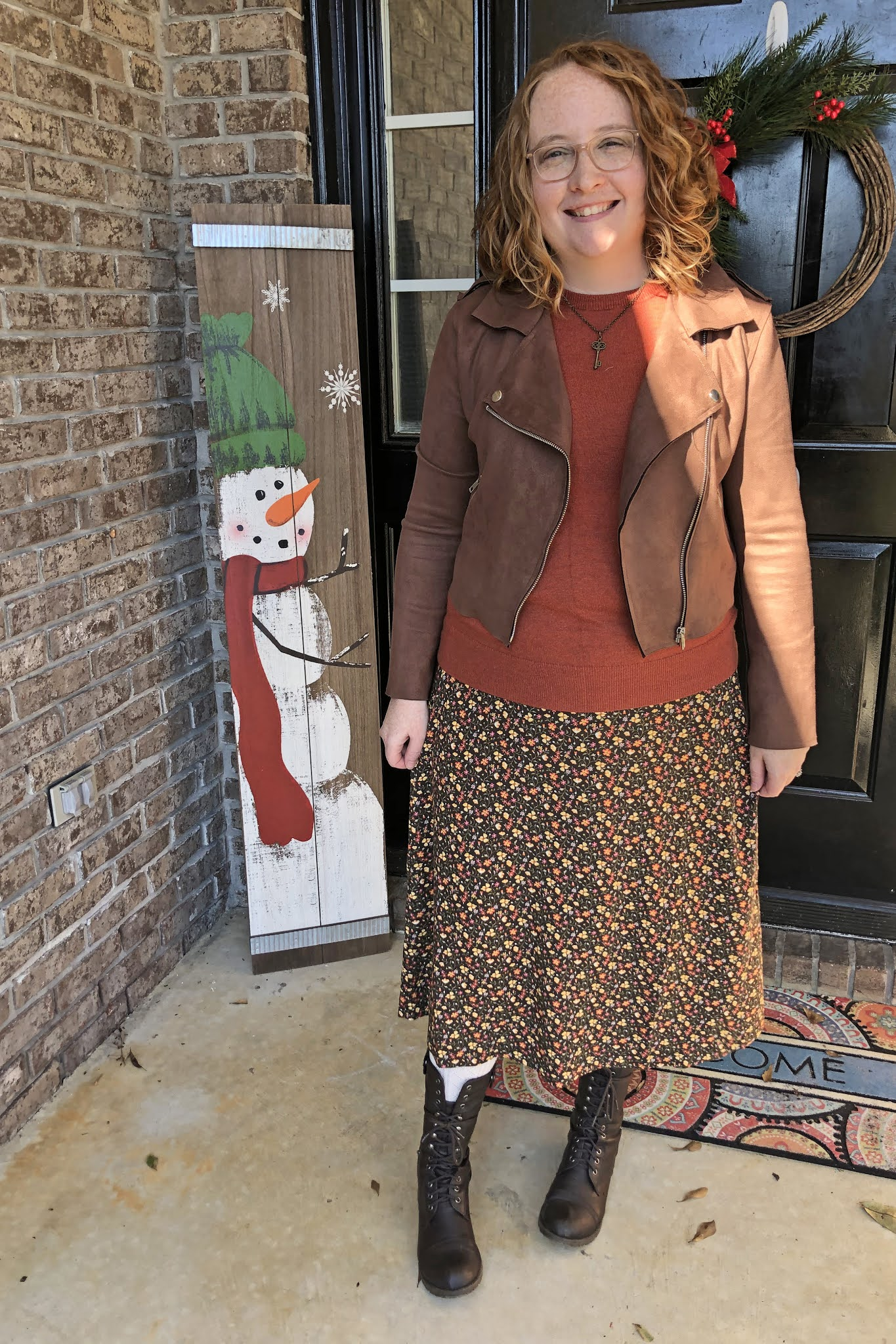 floral midi skirt rust sweater suede motojacket