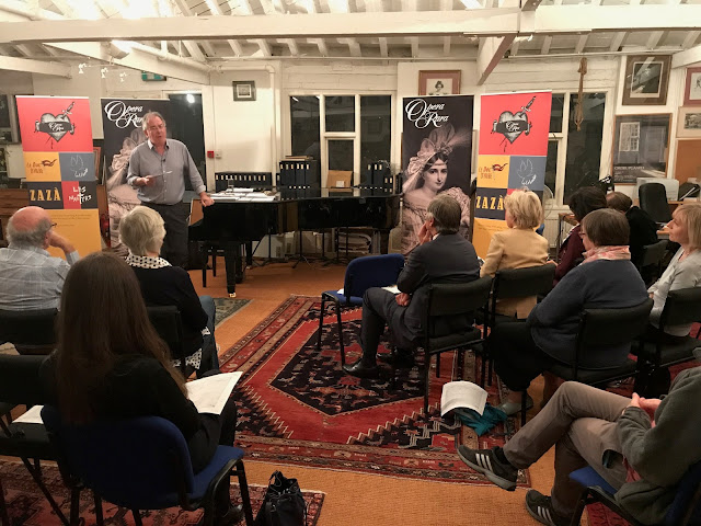 Roger Parker giving a talk 'How to Rescue a Lost Opera' at Opera Rara's studio in 2017 (Photo Opera Rara)