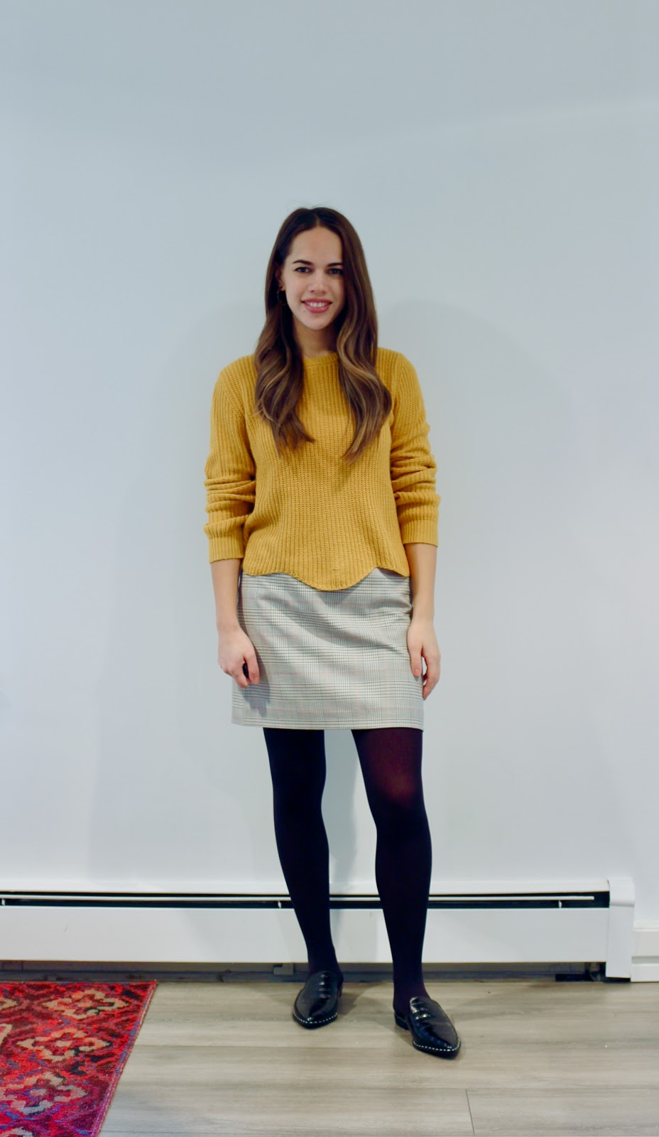 Jules in Flats - Mustard Sweater & Plaid Mini Skirt (Business Casual Fall Workwear on a Budget)