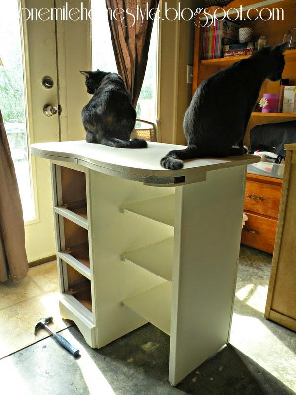 Vintage desk makeover - Cat assistants