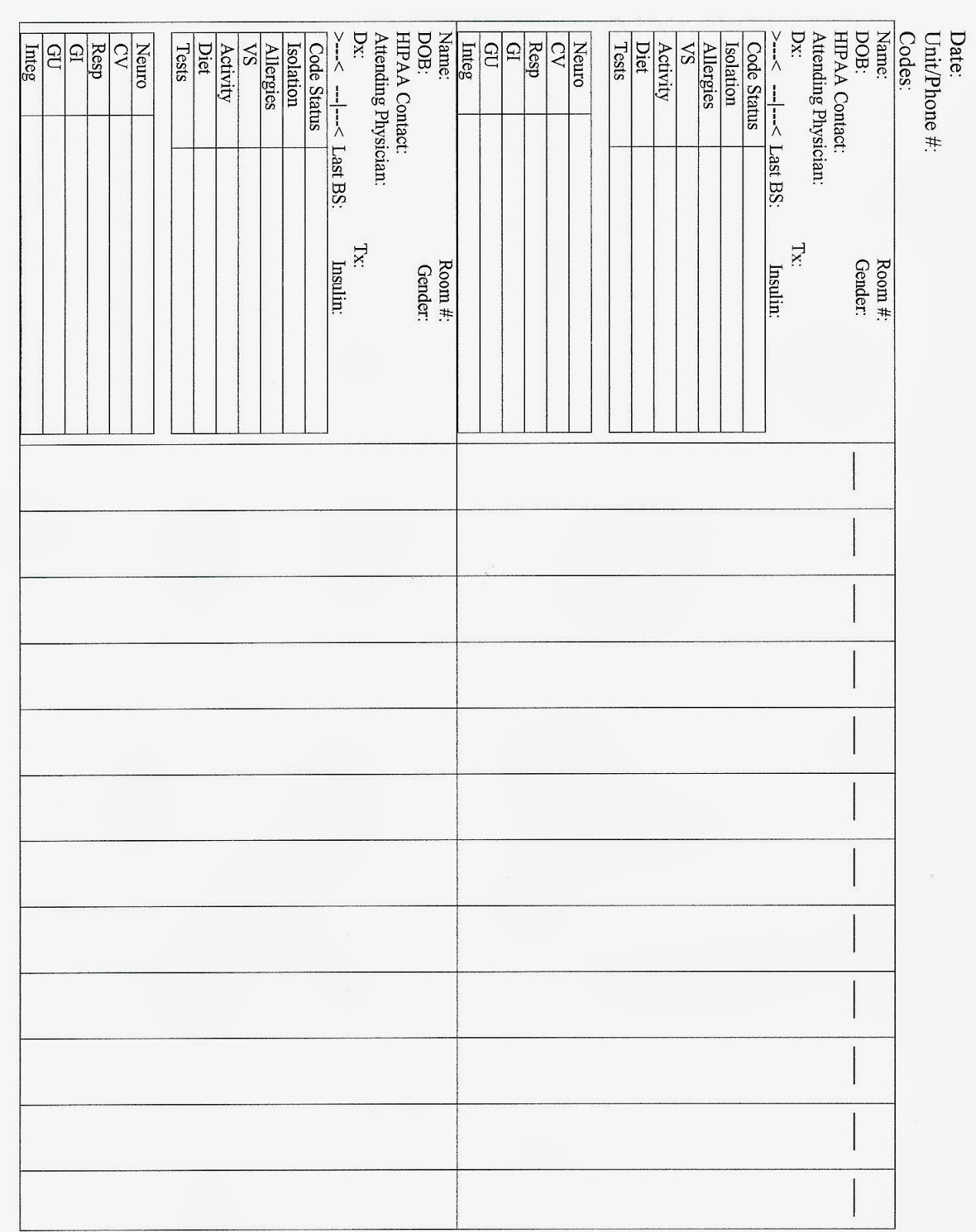 Student Survive 2 Thrive Free Printable Nursing Change Of Shift Report Sheet