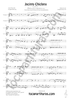 Trompeta y Fliscorno Partitura a dos voces de Jacinto Chiclana Sheet Music for Trumpet and Flugelhorn Music Scores