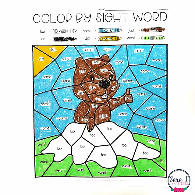 Free groundhog day color by sight word pages. These are awesome because they are editable so you can add any sight word and they will automatically fill into the picture below. These make a great printable activity for kindergarten, first grade, or second grade. Click to download your copy today!