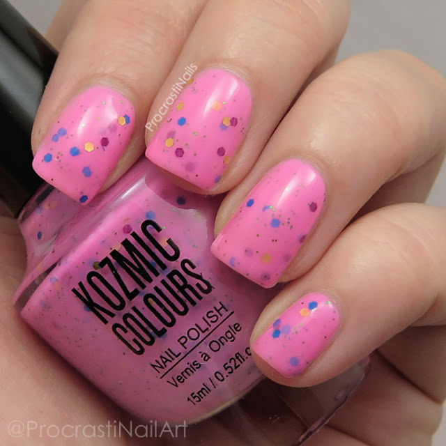 Swatch of Kozmic Colours Pink Glitter Crelly