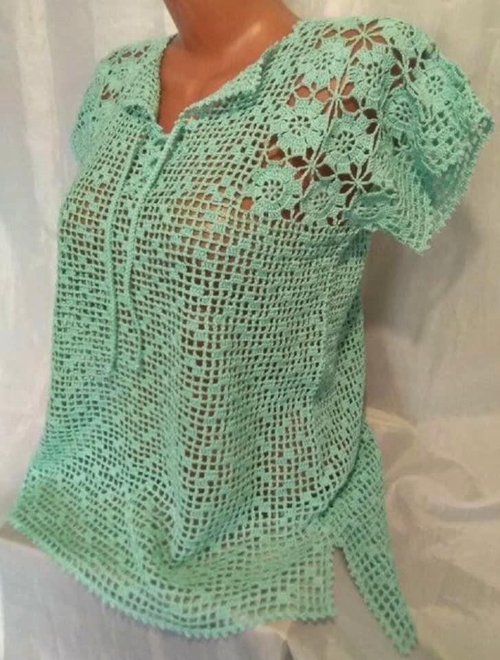 crochet filet blouse pattern