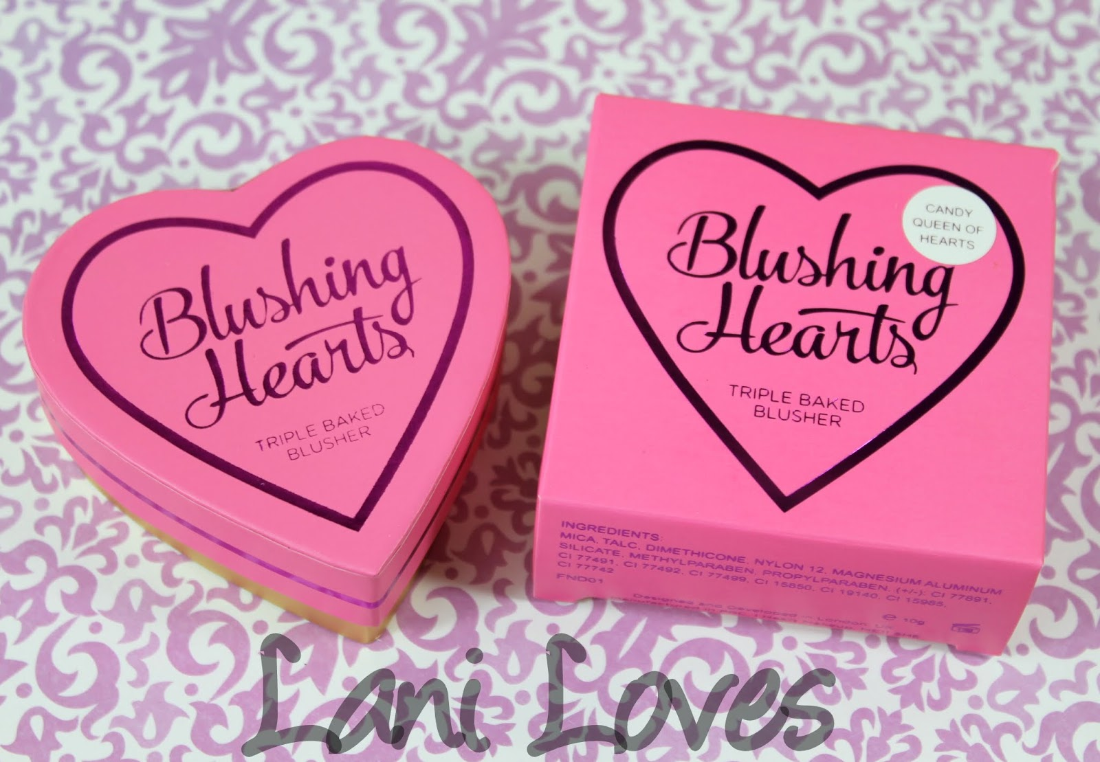 Makeup Revolution: I ♡ Makeup Blushing Hearts - Candy Queen of Hearts Triple Baked Blushers Swatches & Review