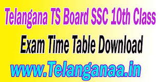 Telangana TS Board SSC 10th Class Exam Time Table Download